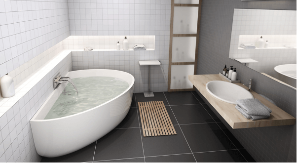 Bathtub with water